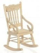 Melody Jane Dolls House Miniature Unfinished Natural Wood Rocking Chair Rocker
