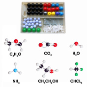 JZK Organic and Inorganic Chemistry Molecular Model Kit for Students learning, 50 Atoms and 74 Bonds Parts