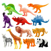 Animals Figure, 12 Piece 18cm Jungle Animals Toys Set Plastic, Dinosaur Toys, Wild Animals Learning Toys and Party Favour Toys for Boys - Forest Dinosaurs Figures Playset for Kids