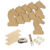 Chess Game Horse Knight Piece Style 8260, Wood Shape Craft Kit, 10cm Size Kids Project Kit, Great Party, School and DIY