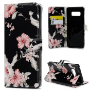 Note 8 Case Wallet, KASOS Colourful Painting Pattern Premium PU Leather Wallet Case Soft TPU Inner Flip Magnetic Front Closure Kickstand Card Holders Cover for Samsung Galaxy Note 8 - Morning Glory