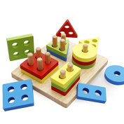 Wooden Geometric Shapes Sorter and Colours Recognition Stacking Toys for Toddlers