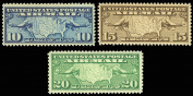 1926 U.S. Map and Mail Planes Set of Three Stamps - Mint Never Hinged Scott C7-C9