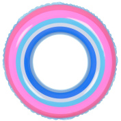 90cm Blue and Pink Stripe Inflatable Swimming Pool Inner Tube Ring Float