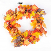 40cm/30cm Pumpkin Berry Maple Leaf Fall Door Wreath Door Wall Ornament Thanksgiving Day,Malloom