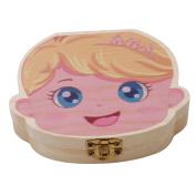 ODN Creative Baby Kids Teeth Box Organiser Wooden Boxes Deciduous Teeth Storage Box Education Creative Box Girl Pattern