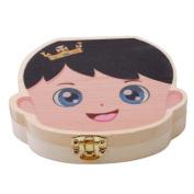 ODN Creative Baby Kids Teeth Box Organiser Wooden Boxes Deciduous Teeth Storage Box Education Creative Box Boy Pattern