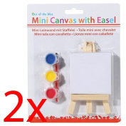 2 X 12CM MINI ART EASEL WOODEN PAINT STAND PAINTING CANVAS DISPLAY FUN KIDS ART