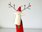 Large Metal Red Reindeer with Hat Christmas Decoration