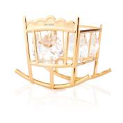 24K Gold Plated Crystal Studded Baby Bassinet Rocking Crib Ornament by Matashi