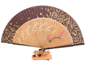 Hand Fan with fan case, handmade bamboo & Silk. Oriental Gift. Brown Golden Flowers