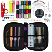Hiveseen 132PCs Crochet Hooks Set, Complete Accessories with Case, Different Size Knitting Needles-(Metal 0.6-1.9mm , Coloured Aluminium 2.0-6.5mm), Sew Weave Craft Tool for Beginner and Professional