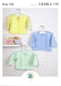 Double Knitting DK Pattern - Baby Cabled Round or V Neck Cardigan & Sweater