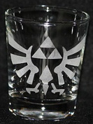 Zelda Video Game Inspired Logo Shot Glass Laser Engraved