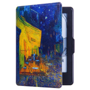 Huasiru Painting Case Cover for Amazon Kindle Paperwhite (2012, 2013, 2015, 2016 and 2017 Versions) with Auto Sleep/Wake, Coffee shop