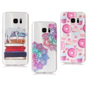Samsung Galaxy S7 Case, Samsung Galaxy S7 Case, Transparent Design Clear Bumper TPU Soft Case Rubber Silicone Skin Cover   Flower + Cat + Doughnut Donuts  