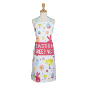 DII Cotton Easter Kitchen Apron with Front Pocket, Cute Women Ruffle Apron for Holidays, Hostess and Housewarming Gift-Easter Greetings