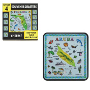 Coasters for Drinks 4 Piece Set - Aruba Souvenir Blue Map Drinking Coasters - Keep Your Table Neat and Clean (Pack of 4)
