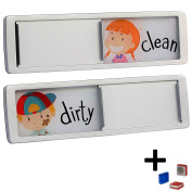 Dishwasher Magnet Clean Dirty Dishes Sign Slide Alert Indicator Dishwashing Reminder for Kitchen | Chores Message for Kids and Adults | Includes 2 Fridge Magnets and 1 Year Warrany By Joy Magnets