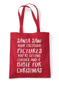 Santa Saw Your Facebook Pictures Funny Festive Christmas Tote Bag