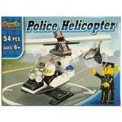Police Helicopter Building Bricks Toy Playset - 54pcs
