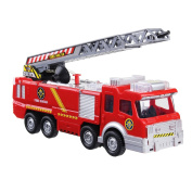 FUNTOK Fire Truck Electric Battery Operated Car toy With Manual Water Pump and Extending Ladder With Flashing Lights Fire Engine For Kids
