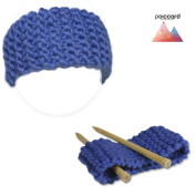 Knitting set for beginners - A kit to knit a headband - Big azure blue wool from Peru - Explanation