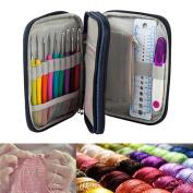 KING DO WAY 45pcs Crochet Hooks Kit Yarn Knitting Needles Sewing Tool Ergonomic Grip Sewing Kit Bag Set Travel Sewing Bag Domestic Sewing Bag