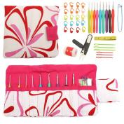 KING DO WAY 40pcs Aluminium Crochet Hooks Kit Weave Yarn Knitting Needles with Case