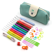 KING DO WAY 30pcs Crochet Hooks Case Kit Yarn Knitting Needles Sewing Tool Ergonomic Grip Bag Sewing Set