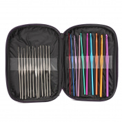 KING DO WAY 42pcs Mixed Aluminium Handle Crochet Hook Knitting Knit Needle Weave Yarn Set Full Kit