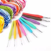 KING DO WAY 9pcs Multicolor Soft Silicone Handle Aluminium Crochet Hooks Knitting Soft Rubber Grip Handles Needle 2-6mm