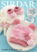 Sirdar 4858 Knitting Pattern Baby Hats Mittens and Bootees in Sirdar Flurry Chunky
