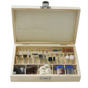 Atoplee 100pcs Multifunctional Wool Felt Mandrel Mounted Grinding Polishing Accessories Attachment Set - Fit -0.3cm Shank+ 1pc wood case
