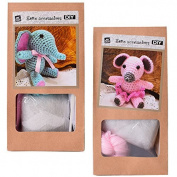 2 Pcs DIY Mini Crochet kit Crafting kit Crochet animal Mouse or Elephant For Self Crochet and Give away 10 cm pink turquoise - Mouse Elephant