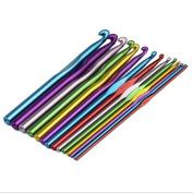 14 pcs Multi Colour Strong Aluminium Knitting Crochet Hooks ,Clothing Crochet Bearded Needle Latch Needle, Needle Set knitting - 15cm