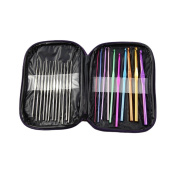 T-MEKA 22 Pcs Aluminium & Stainless Steel Crochet Hooks Set – 22 Different Sizes Crochet Hooks with Storage Case, Ideal for Crocheting, Lace, Doilies & Flower Projects
