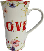 222 Fifth Latte Tall Coffee Mug Valentine Love Flowers XOXO Hugs Kisses Spring Romance Hearts Porcelain Designer 470ml