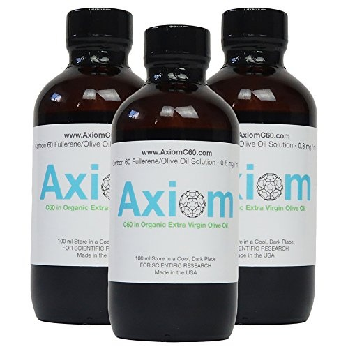 Axiom C60 Olive Oil (THREE BOTTLE PACK TOTAL 300ML) - 99 9+% Pure Carbon 60  in Organic Extra Virgin Olive Oil 100ml