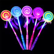 bismarckbeer 1Pc LED Magic Fairy Wand Light up Princess Flashing Lollipop Stick Xmas Gift Random Colour