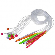 "Celine lin 12sizes 48inch""(120cm) Plastic Colourful Flexible Afghan Tunisian Carpet Crochet Hooks Needles"