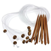 """Celine lin 12sizes 48inch""""(120cm) Carbonised Bamboo Flexible Afghan Tunisian Carpet Crochet Hooks Needles"""