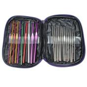 Jooks Aluminium Crochet Hooks Needles Multi Colour Knitting Needles Letter Sizes Crochet Hooks with Bag 22pcs