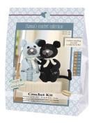 Go Handmade 80072 Cats Burt And Bart, Crochet Set, Cotton, Black/Grey, 16 x 7 x 22 cm