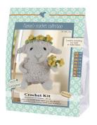 Go hand made 80061 Sheep, Helene 1 Learn to Crochet, Cotton, Grey/Yellow/Green, 16 x 7 x 22 cm