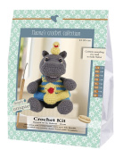 Go hand made 80057 Hippo, Helmut 1 Learn to Crochet, Cotton, Grey/Yellow/Blue, 16 x 7 x 22 cm