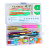 . Portable Compact Home Travel Basic Knitting Tool Set with Case,Random Colour