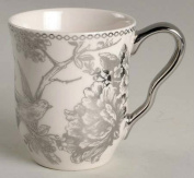 222 Fifth Single Mug Adelaide Silver Metallic Pattern Bird Toile Floral Cup For Coffee or Tea 470mls Porcelain
