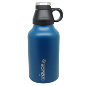 Reduce COLD-1 Navy SS Vacuum Insulated 1890ml Growler Gear with 2 Pints - Keeps Beer and Beverages Cold 48 Hours and Hot for 12 - Bring Hiking, Camping, Parties, Tailgating, BBQs and More