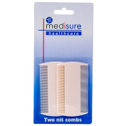 2Pc White Nit Combs, Removes Headlice, Lice & Eggs From Thick & Thin Hair